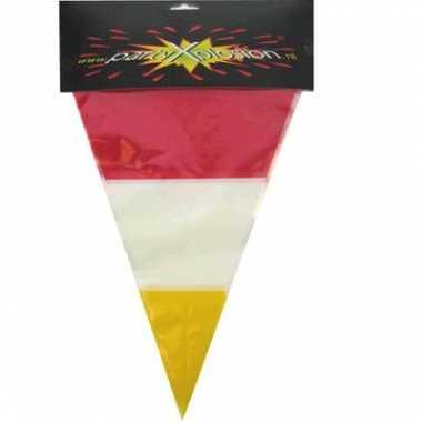 10 meter lange vlaggenlijn rood geel wit