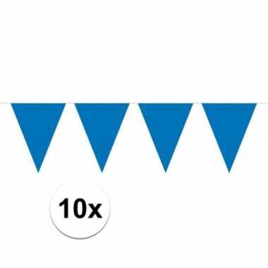 10x blauwe vlaggenlijnen 10 meter