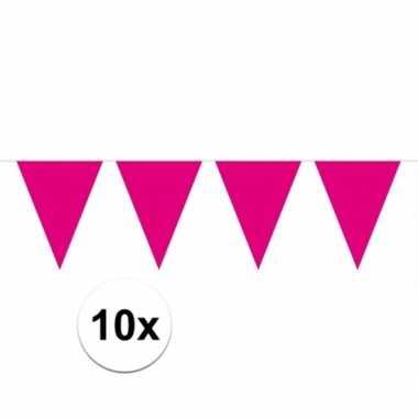 10x magenta roze vlaggenlijnen 10 meter