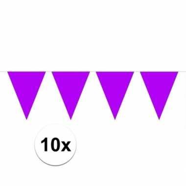 10x paarse vlaggenlijnen 10 meter