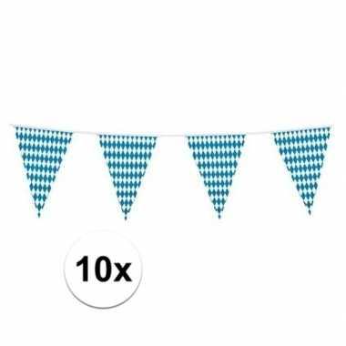 10x plastic beieren oktoberfest vlaggenlijnen 10 meter