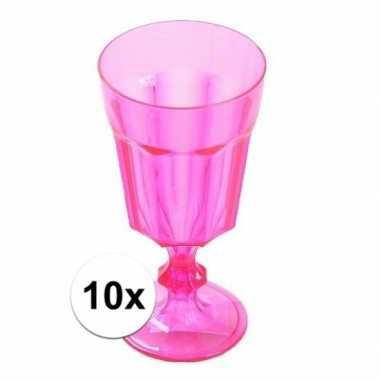 10x plastic camping wijnglas roze 15 cm