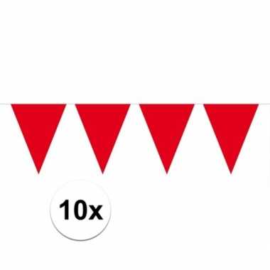 10x rode vlaggenlijnen 10 meter