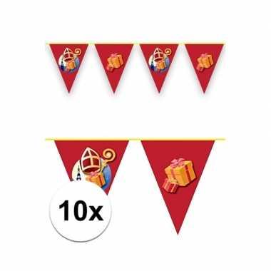 10x sint en piet vlaggenlijnen voor binnen en buiten