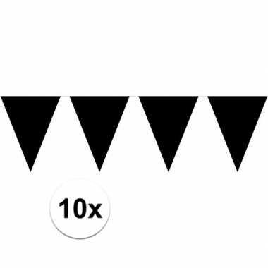 10x zwarte vlaggenlijnen 10 meter