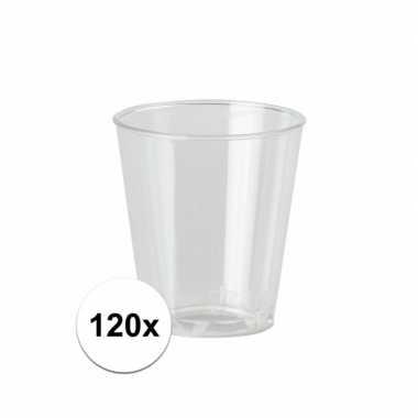 120 plastic wegwerp borrel glaasjes 20 stuks