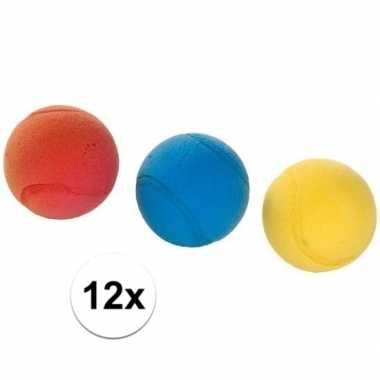 12x tennis/soft/foam balletjes buitenspeelgoed