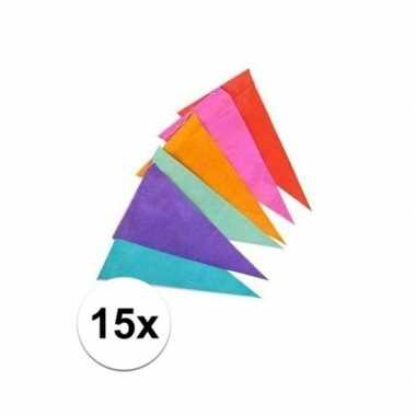 15x gekleurde vlaggenlijn 10 meter