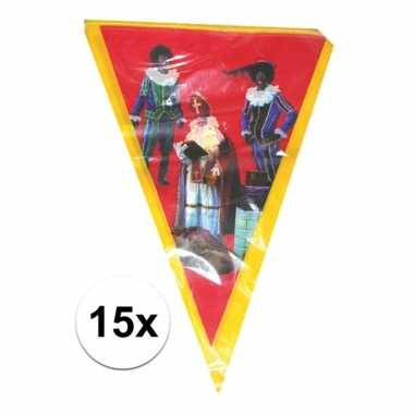 15x vlaggen slinger sint en piet 5 meter