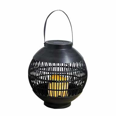 1x buiten/tuin zwarte rotan lampionnen/hanglantaarns 20 cm solar tuinverlichting
