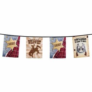 1x cowboy thema slinger met vlaggen 6 meter
