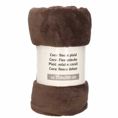 1x donker grijsbruine fleece plaids/dekentjes 150 x 200 cm
