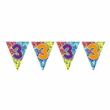 1x mini vlaggenlijn feestversiering met leeftijd 3
