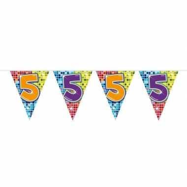 1x mini vlaggenlijn feestversiering met leeftijd 5