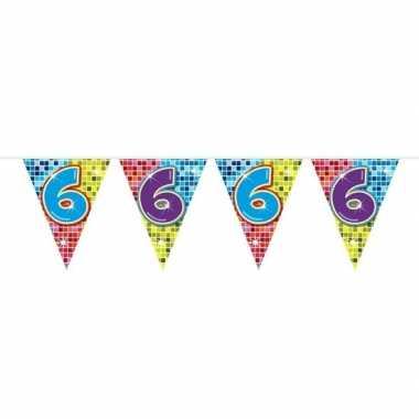 1x mini vlaggenlijn feestversiering met leeftijd 6