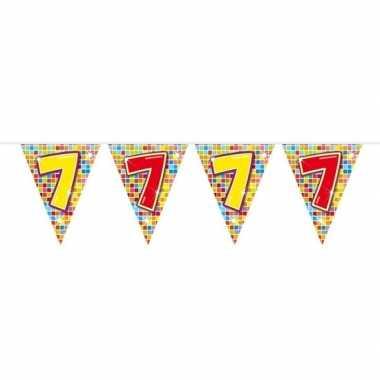1x mini vlaggenlijn feestversiering met leeftijd 7