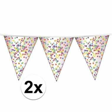 2 plastic transparante vlaggenlijnen confetti
