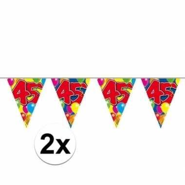 2x 45e verjaardag slingers / vlaggenlijnen 10m