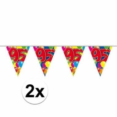 2x 95e verjaardag slingers / vlaggenlijnen 10m