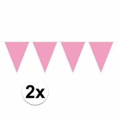 2x baby roze mini vlaggenlijn feestversiering