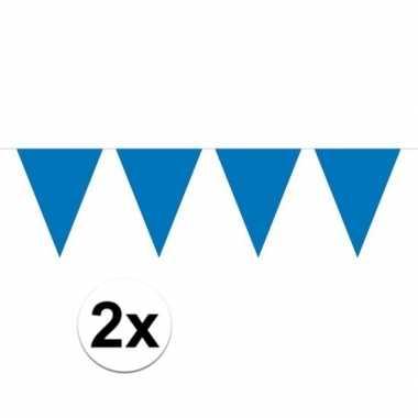 2x blauw mini vlaggenlijn feestversiering