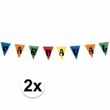 2x carnaval vlaggen versiering 10 meter