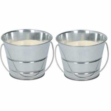 2x citronella kaars anti-mug in emmertje