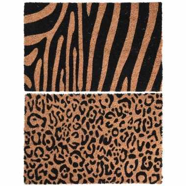 2x dieren thema deurmatten/buitenmatten kokos tijger/zebra en panter print 39 x 59 cm