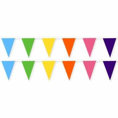 2x feestartikelen gekleurd stoffen slingertje 10 m