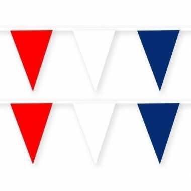 2x feestartikelen kroatie thema stoffen slingertje rood/wit/blauw 10 m