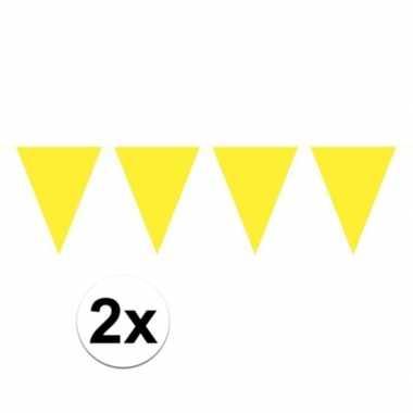 2x gele mini vlaggenlijn feestversiering