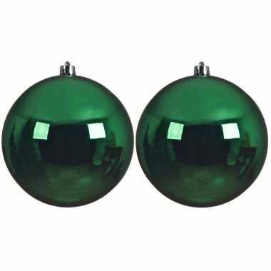 2x grote kerst groene kerstballen van 14 cm glans van kunststof