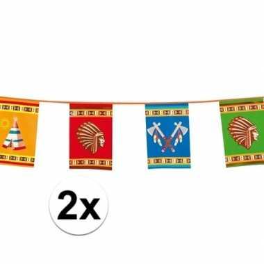 2x indianen feest slingers van 10 meter