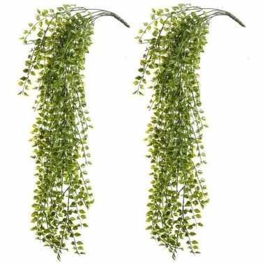 2x kantoor uv kunstplanten groene ficus hangplant/tak 80 cm