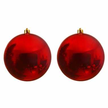 2x mega kerst rode kerstballen van 25 cm glans kunststof