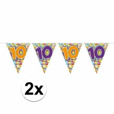 2x mini vlaggenlijn feestversiering met leeftijd 10