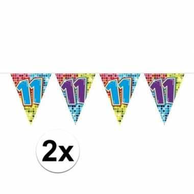 2x mini vlaggenlijn feestversiering met leeftijd 11