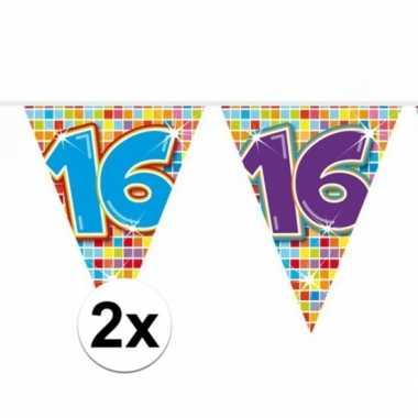 2x mini vlaggenlijn feestversiering met leeftijd 16