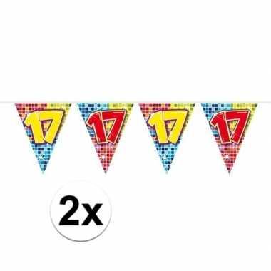 2x mini vlaggenlijn feestversiering met leeftijd 17