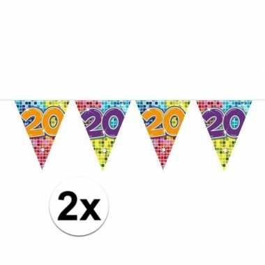 2x mini vlaggenlijn feestversiering met leeftijd 20