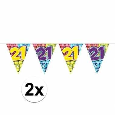 2x mini vlaggenlijn feestversiering met leeftijd 21