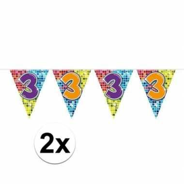 2x mini vlaggenlijn feestversiering met leeftijd 3