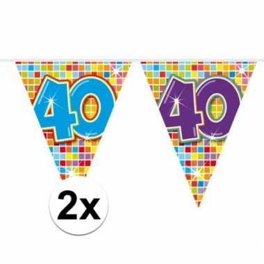 2x mini vlaggenlijn feestversiering met leeftijd 40