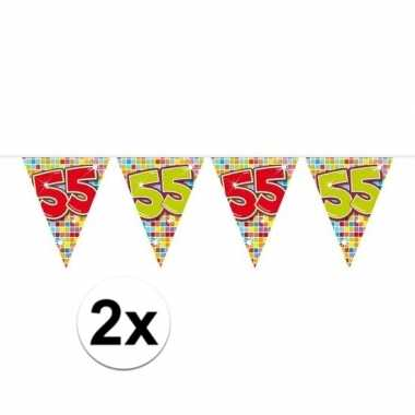2x mini vlaggenlijn feestversiering met leeftijd 55