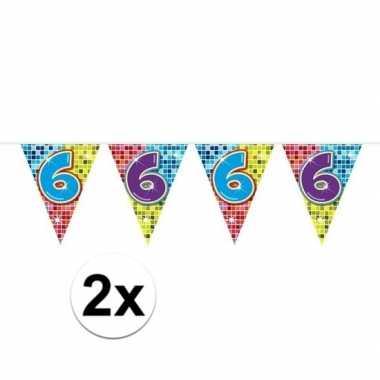 2x mini vlaggenlijn feestversiering met leeftijd 6