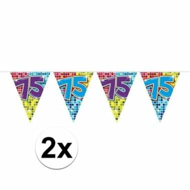 2x mini vlaggenlijn feestversiering met leeftijd 75