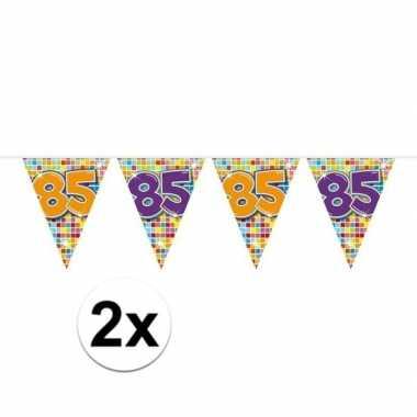 2x mini vlaggenlijn feestversiering met leeftijd 85