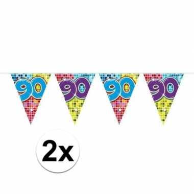 2x mini vlaggenlijn feestversiering met leeftijd 90
