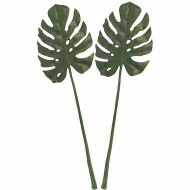 2x monstera gatenplant kunstblad/kunsttak groen 85 cm