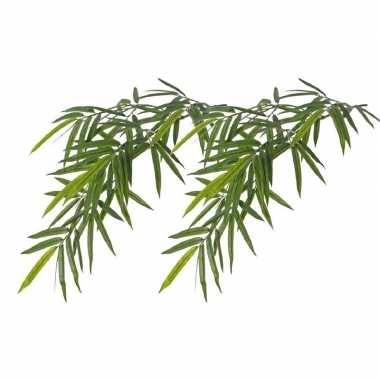 2x namaak bamboe kunstplanten tak groen 82 cm voor buiten/outdoor